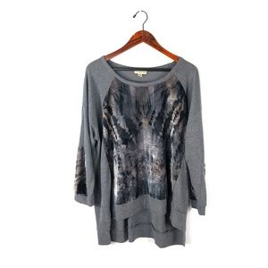 One world XL top velvet long sleeve high low knit